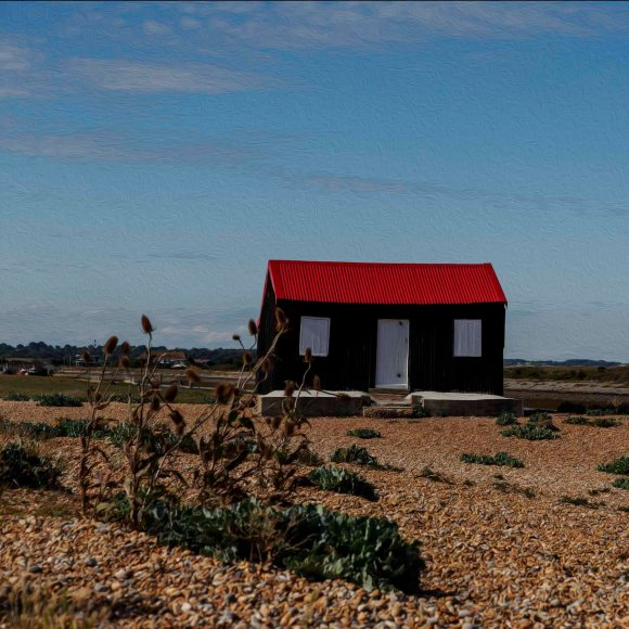 hut red roof rye harbour, card for sale, photo clare hocter